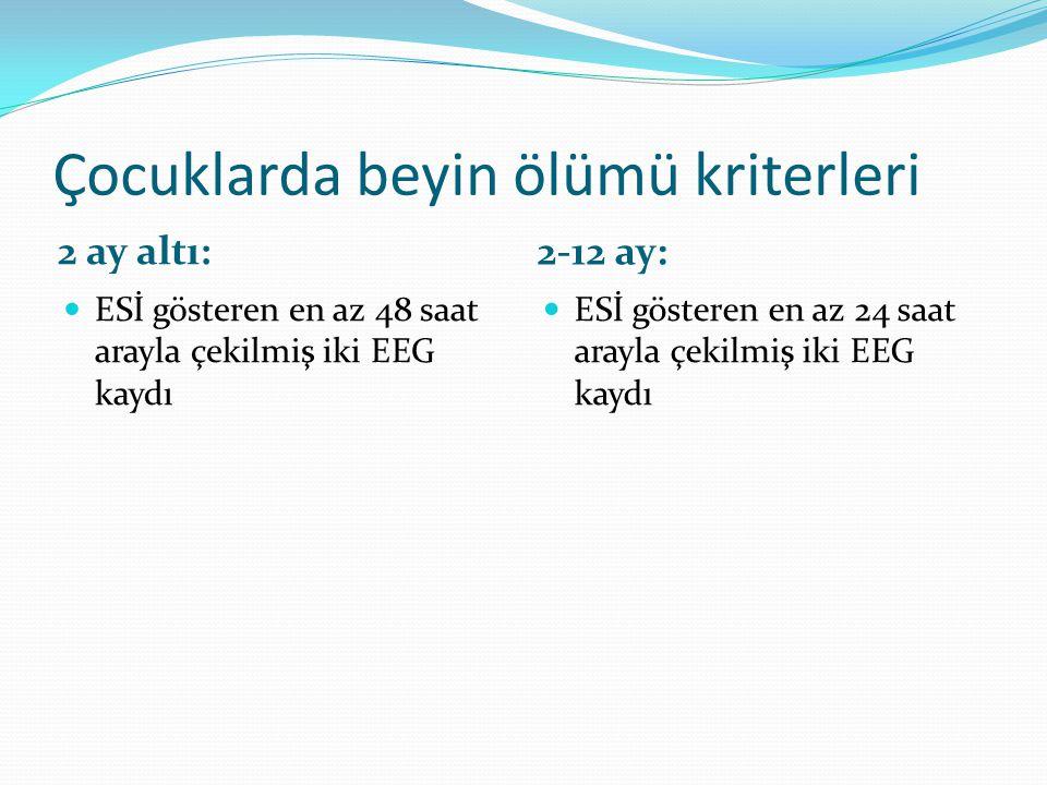 Çocuklarda beyin ölümü kriterleri 2 ay altı: 2-12 ay:  ESİ gösteren en az 48 saat arayla çekilmiş iki EEG kaydı  ESİ gösteren en az 24 saat arayla ç