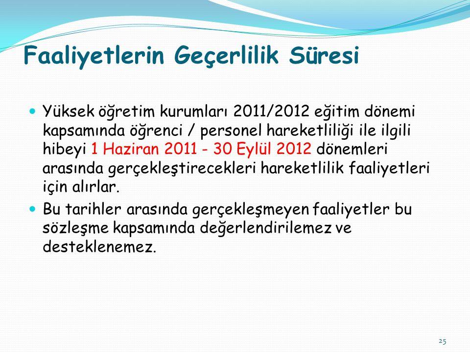 25 Faaliyetlerin Geçerlilik Süresi  Yüksek öğretim kurumları 2011/2012 eğitim dönemi kapsamında öğrenci / personel hareketliliği ile ilgili hibeyi 1 Haziran 2011 - 30 Eylül 2012 dönemleri arasında gerçekleştirecekleri hareketlilik faaliyetleri için alırlar.