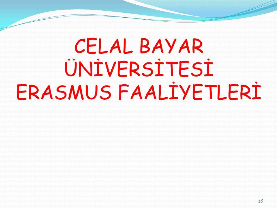 26 CELAL BAYAR ÜNİVERSİTESİ ERASMUS FAALİYETLERİ