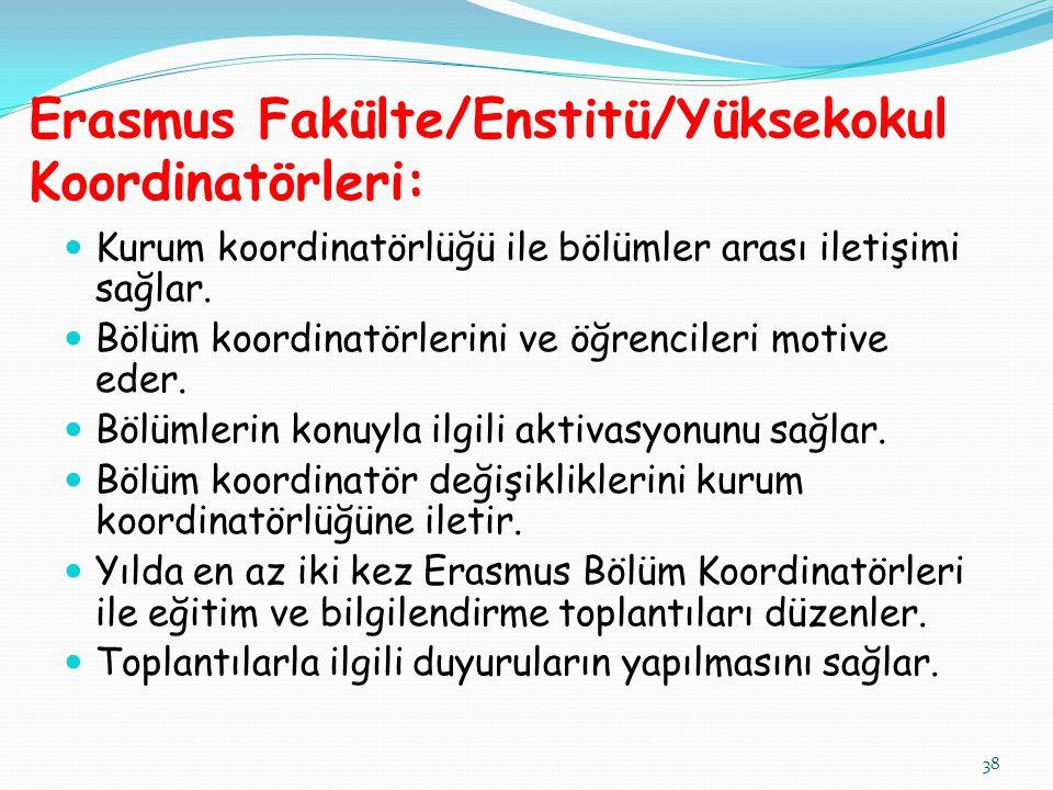 38 Erasmus Fakülte/Enstitü/Yüksekokul Koordinatörleri:  Kurum koordinatörlüğü ile bölümler arası iletişimi sağlar.  Bölüm koordinatörlerini ve öğren