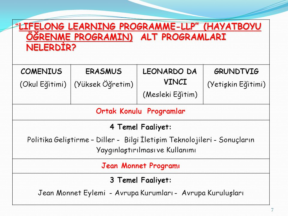 """7 """" LIFELONG LEARNING PROGRAMME-LLP"""" (HAYATBOYU ÖĞRENME PROGRAMIN) ALT PROGRAMLARI NELERDİR? COMENIUS (Okul Eğitimi) ERASMUS (Yüksek Öğretim) LEONARDO"""