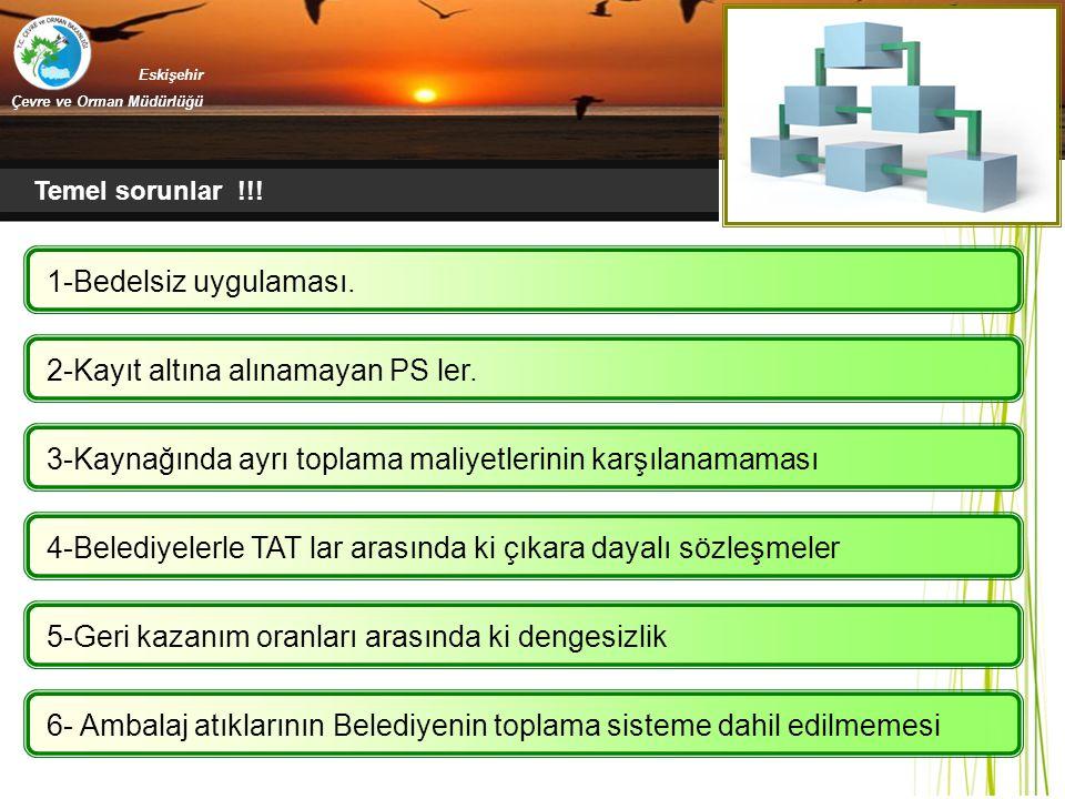 Eskişehir Çevre ve Orman Müdürlüğü Temel sorunlar !!! 1-Bedelsiz uygulaması. 2-Kayıt altına alınamayan PS ler. 3-Kaynağında ayrı toplama maliyetlerini