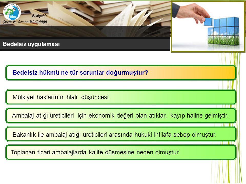 Belediyeler Bedelsiz uygulaması Eskişehir Çevre ve Orman Müdürlüğü Mülkiyet haklarının ihlali düşüncesi. Ambalaj atığı üreticileri için ekonomik değer