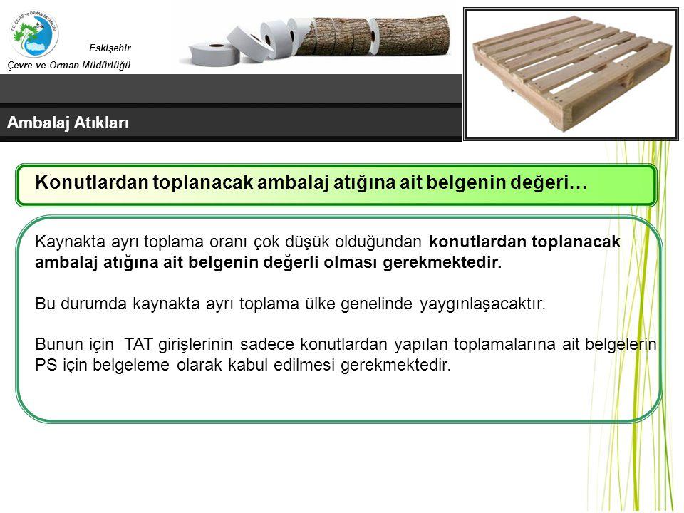 Ambalaj Atıkları Eskişehir Çevre ve Orman Müdürlüğü Kaynakta ayrı toplama oranı çok düşük olduğundan konutlardan toplanacak ambalaj atığına ait belgen