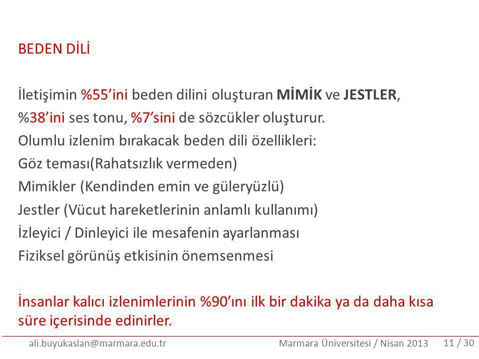 ali.buyukaslan@marmara.edu.tr Marmara Üniversitesi / Nisan 2013 BEDEN DİLİ İletişimin %55'ini beden dilini oluşturan MİMİK ve JESTLER, %38'ini ses ton