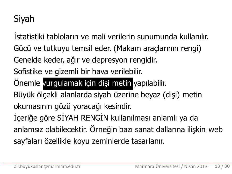 ali.buyukaslan@marmara.edu.tr Marmara Üniversitesi / Nisan 2013 Siyah İstatistiki tabloların ve mali verilerin sunumunda kullanılır. Gücü ve tutkuyu t