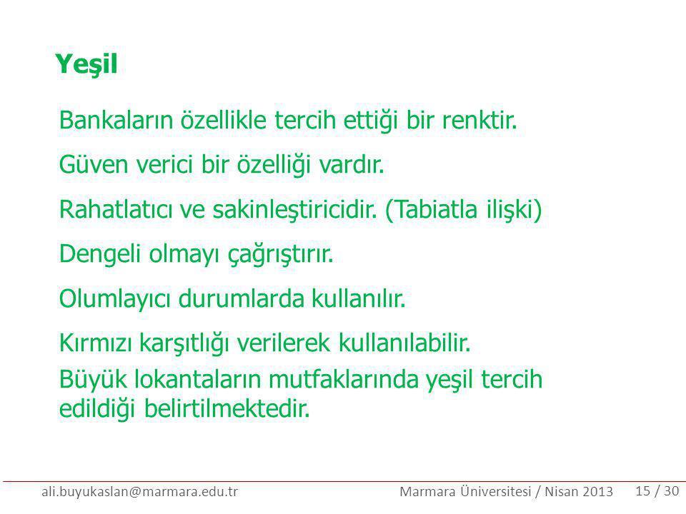 ali.buyukaslan@marmara.edu.tr Marmara Üniversitesi / Nisan 2013 Yeşil Bankaların özellikle tercih ettiği bir renktir. Güven verici bir özelliği vardır