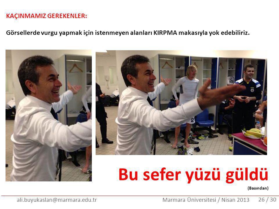 ali.buyukaslan@marmara.edu.tr Marmara Üniversitesi / Nisan 2013 KAÇINMAMIZ GEREKENLER: Görsellerde vurgu yapmak için istenmeyen alanları KIRPMA makası
