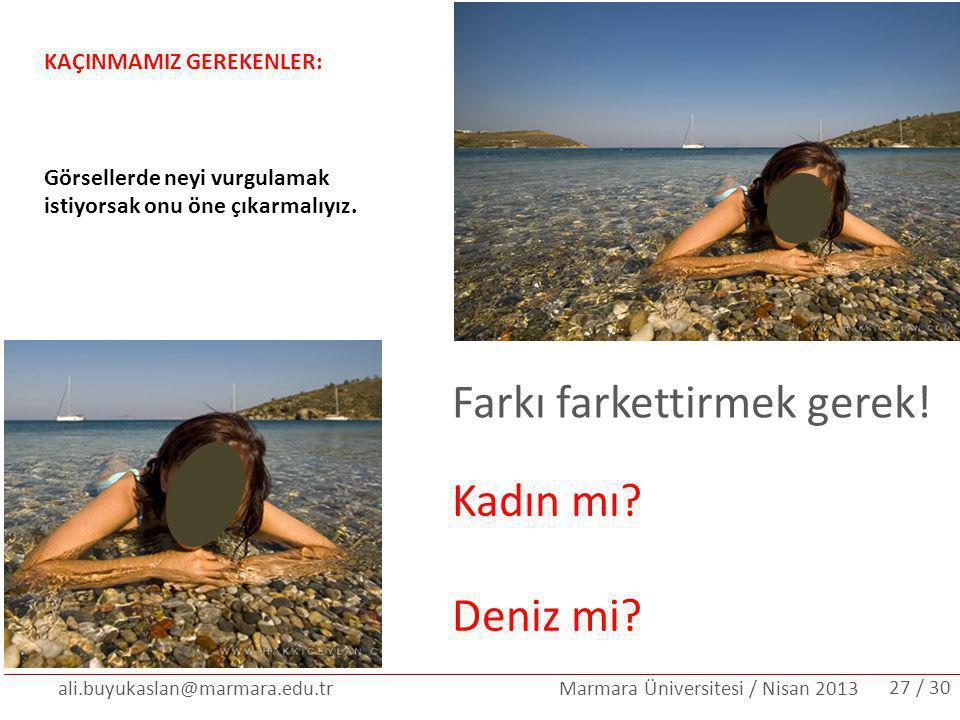 ali.buyukaslan@marmara.edu.tr Marmara Üniversitesi / Nisan 2013 KAÇINMAMIZ GEREKENLER: Görsellerde neyi vurgulamak istiyorsak onu öne çıkarmalıyız. /