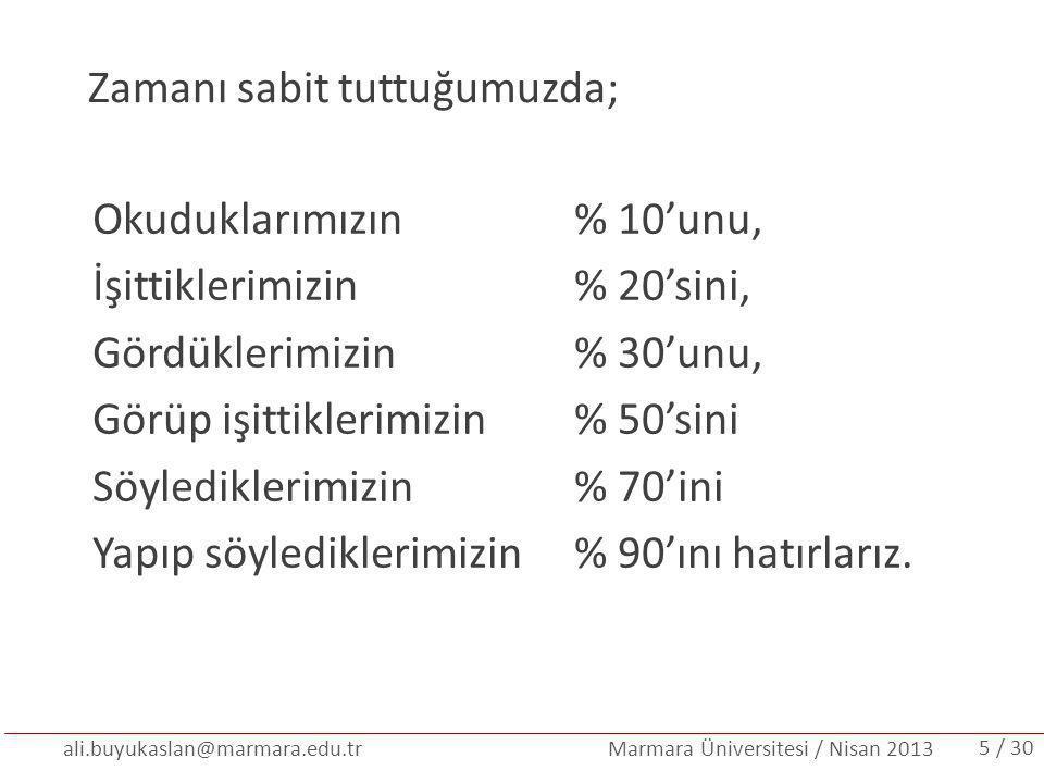 ali.buyukaslan@marmara.edu.tr Marmara Üniversitesi / Nisan 2013 Zamanı sabit tuttuğumuzda; Okuduklarımızın % 10'unu, İşittiklerimizin% 20'sini, Gördük