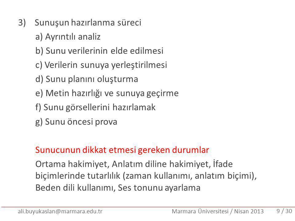 ali.buyukaslan@marmara.edu.tr Marmara Üniversitesi / Nisan 2013 POWER POINT SUNUMUNDA DİKKAT EDİLECEK HUSUSLAR: Başarılı bir sunum için önemli olan metin, görsel ve tasarım bütünlüğüdür.