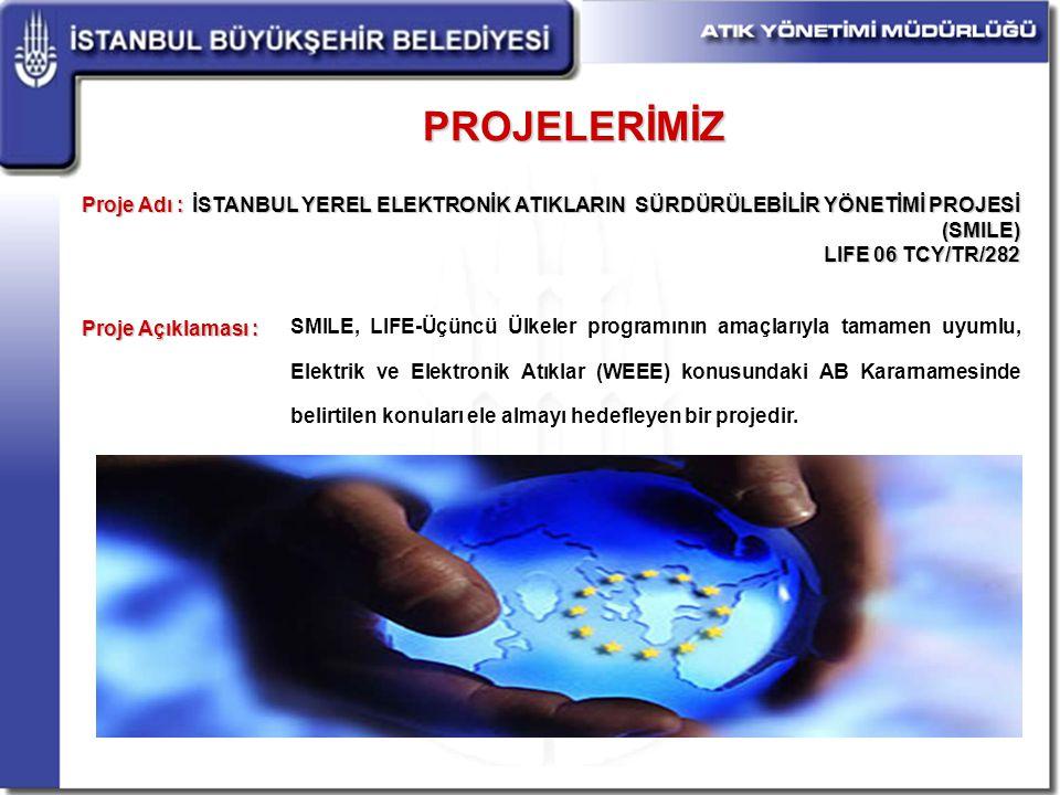 PROJELERİMİZ İSTANBUL YEREL ELEKTRONİK ATIKLARIN SÜRDÜRÜLEBİLİR YÖNETİMİ PROJESİ (SMILE) LIFE 06 TCY/TR/282 Proje Adı : Proje Açıklaması : SMILE, LIFE-Üçüncü Ülkeler programının amaçlarıyla tamamen uyumlu, Elektrik ve Elektronik Atıklar (WEEE) konusundaki AB Kararnamesinde belirtilen konuları ele almayı hedefleyen bir projedir.