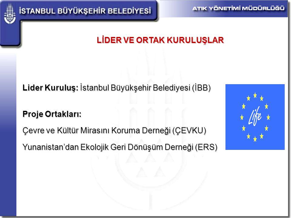 LİDER VE ORTAK KURULUŞLAR Lider Kuruluş: İstanbul Büyükşehir Belediyesi (İBB) Proje Ortakları: Çevre ve Kültür Mirasını Koruma Derneği (ÇEVKU) Yunanistan'dan Ekolojik Geri Dönüşüm Derneği (ERS)