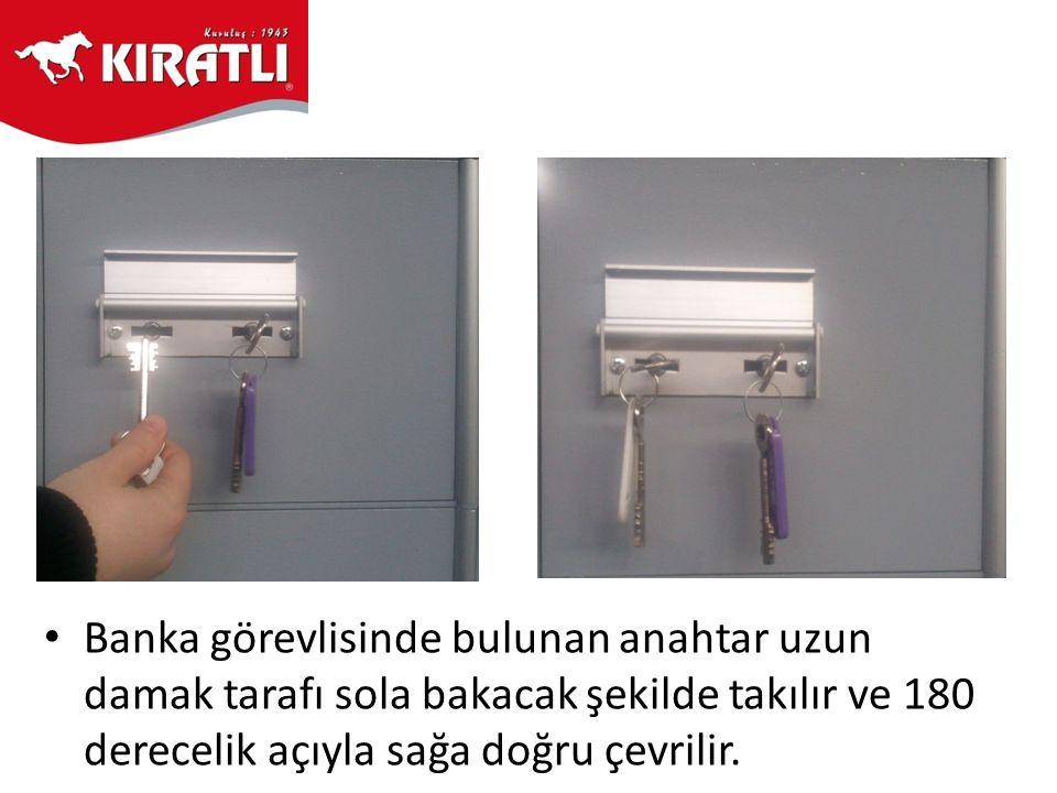 • Kapak açılarak banka anahtarı sola doğru 180 derecelik açıyla çevrilir ve anahtar çıkarılır.