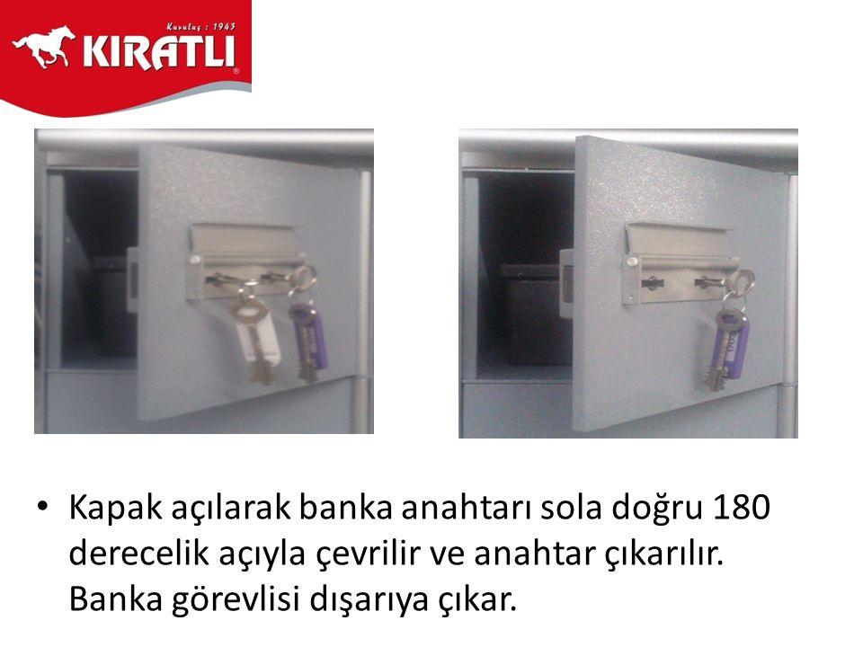 • Kapak açılarak banka anahtarı sola doğru 180 derecelik açıyla çevrilir ve anahtar çıkarılır. Banka görevlisi dışarıya çıkar.