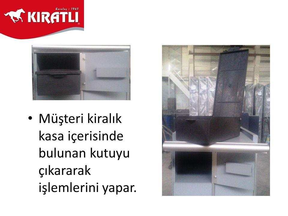 • Müşteri kiralık kasa içerisinde bulunan kutuyu çıkararak işlemlerini yapar.