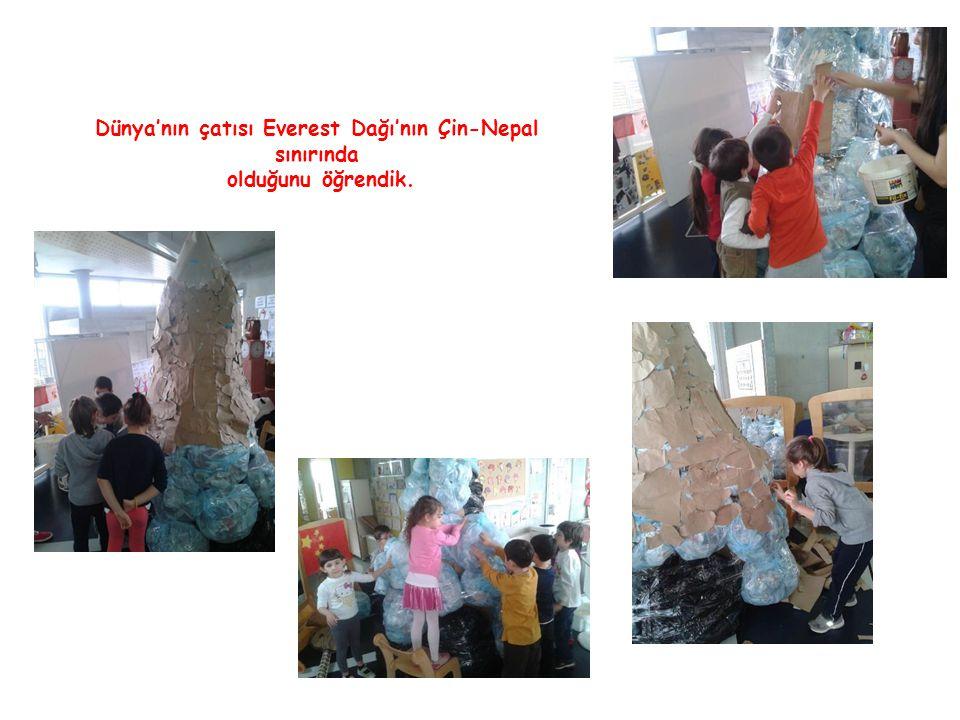 Dünya'nın çatısı Everest Dağı'nın Çin-Nepal sınırında olduğunu öğrendik.