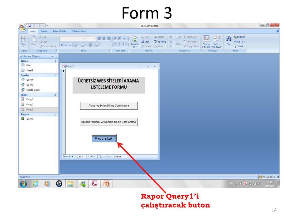Form 3 Rapor Query1'i çalıştıracak buton 14 Rapora bak