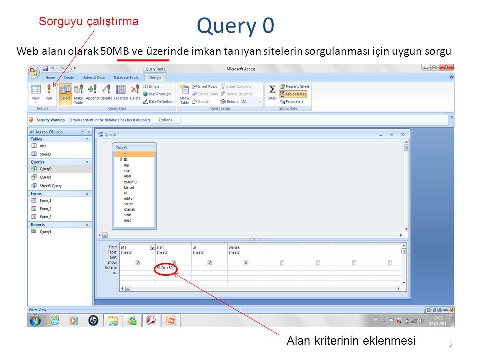 3 Query 0 Web alanı olarak 50MB ve üzerinde imkan tanıyan sitelerin sorgulanması için uygun sorgu Alan kriterinin eklenmesi Sorguyu çalıştırma