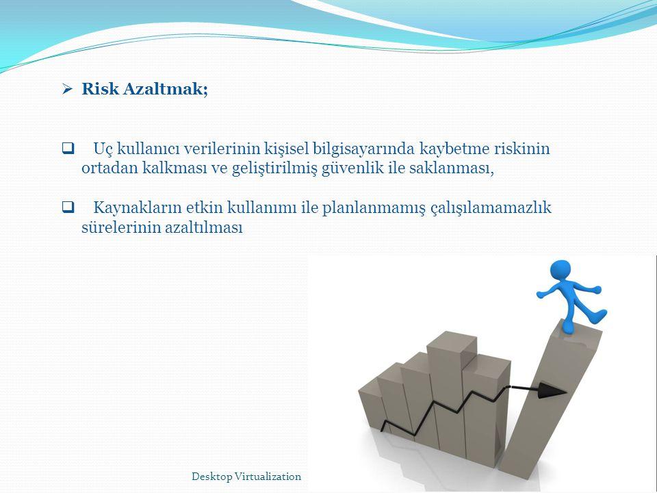 Desktop Virtualization4  Risk Azaltmak;  Uç kullanıcı verilerinin kişisel bilgisayarında kaybetme riskinin ortadan kalkması ve geliştirilmiş güvenli