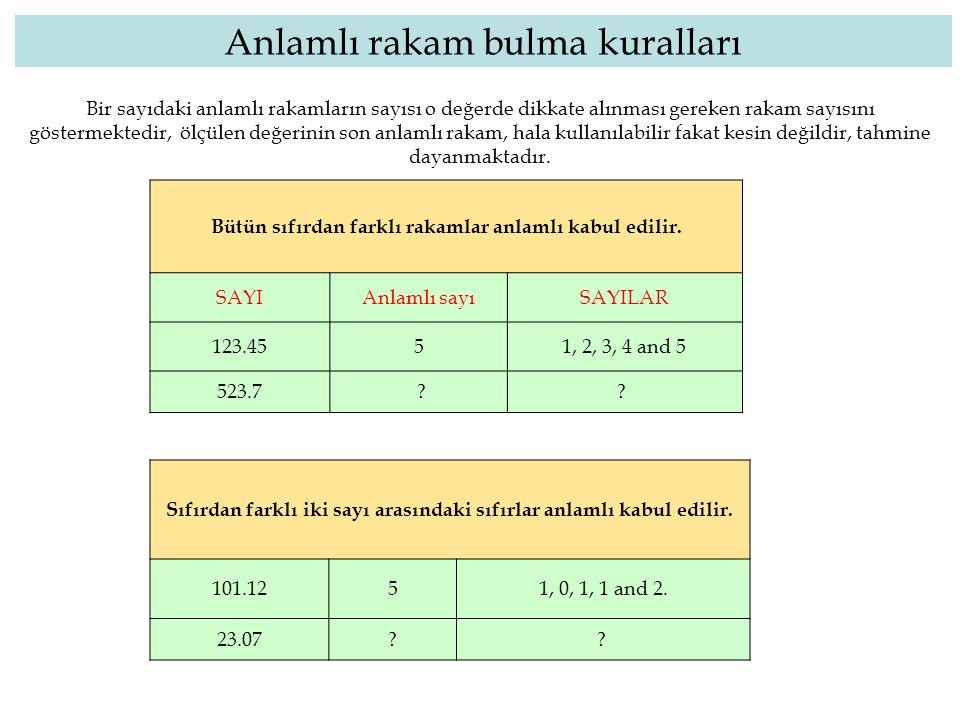 Bir sayıdaki anlamlı rakamların sayısı o değerde dikkate alınması gereken rakam sayısını göstermektedir, ölçülen değerinin son anlamlı rakam, hala kul