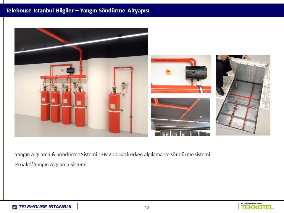 10 Telehouse Istanbul Bilgiler – Yangın Söndürme Altyapısı Yangın Algılama & Söndürme Sistemi : FM200 Gazlı erken algılama ve söndürme sistemi Proaktif Yangın Algılama Sistemi