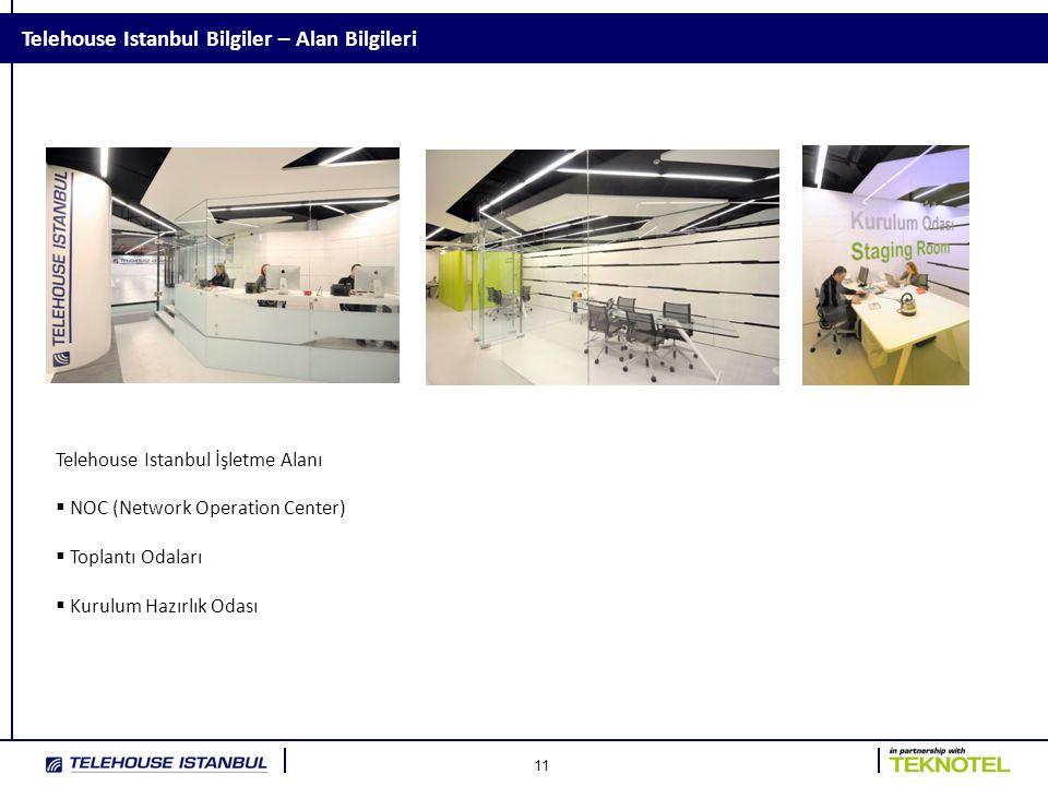 11 Telehouse Istanbul Bilgiler – Alan Bilgileri Telehouse Istanbul İşletme Alanı  NOC (Network Operation Center)  Toplantı Odaları  Kurulum Hazırlı