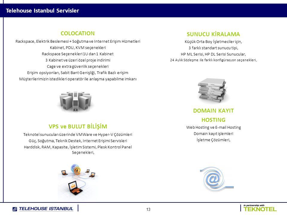 13 Telehouse Istanbul Servisler COLOCATION Rackspace, Elektrik Beslemesi + Soğutma ve Internet Erişim Hizmetleri Kabinet, PDU, KVM seçenekleri Rackspace Seçenekleri 1U dan 1 Kabinet 3 Kabinet ve üzeri özel proje indirimi Cage ve extra güvenlik seçenekleri Erişim opsiyonları, Sabit Bant Genişliği, Trafik Bazlı erişim Müşterilerimizin istedikleri operatör ile anlaşma yapabilme imkanı VPS ve BULUT BİLİŞİM Teknotel sunucuları üzerinde VMWare ve Hyper-V Çözümleri Güç, Soğutma, Teknik Destek, Internet Erişimi Servisleri Harddisk, RAM, Kapasite, İşletim Sistemi, Plesk Kontrol Panel Seçenekleri, SUNUCU KİRALAMA Küçük Orta Boy İşletmeciler için, 3 farklı standart sunucu tipi, HP ML Serisi, HP DL Serisi Sunucular, 24 Aylık Sözleşme ile farklı konfigürasyon seçenekleri, HOSTING DOMAIN KAYIT HOSTING Web Hosting ve E-mail Hosting Domain kayıt işlemleri İşletme Çözümleri,