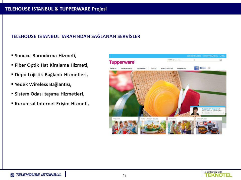 19 TELEHOUSE ISTANBUL & TUPPERWARE Projesi TELEHOUSE ISTANBUL TARAFINDAN SAĞLANAN SERVİSLER  Sunucu Barındırma Hizmeti,  Fiber Optik Hat Kiralama Hi