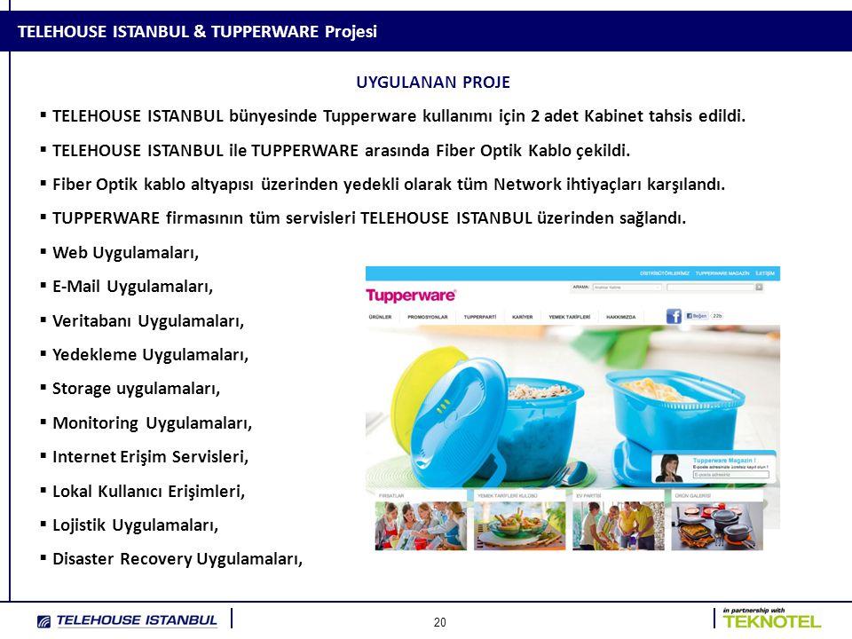 20 TELEHOUSE ISTANBUL & TUPPERWARE Projesi UYGULANAN PROJE  TELEHOUSE ISTANBUL bünyesinde Tupperware kullanımı için 2 adet Kabinet tahsis edildi.  T