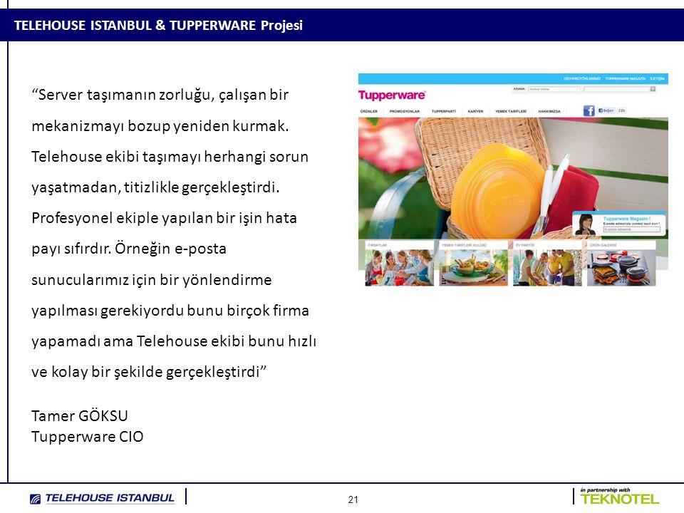 """21 TELEHOUSE ISTANBUL & TUPPERWARE Projesi """"Server taşımanın zorluğu, çalışan bir mekanizmayı bozup yeniden kurmak. Telehouse ekibi taşımayı herhangi"""
