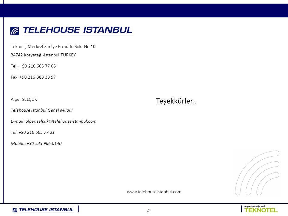 24 www.telehouseistanbul.com Tekno İş Merkezi Saniye Ermutlu Sok. No.10 34742 Kozyatağı-Istanbul TURKEY Tel : +90 216 665 77 05 Fax: +90 216 388 38 97