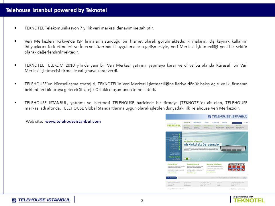 4 Telehouse Istanbul Bilgiler - Genel İşletmeye Açılış Tarihi : Mart 2011 Colocation Alanı : 90 Kabinet, 200 m2 Kabinet Özellikleri : 600 (W) × 1000(D) x 42U(H) Tavan Yüksekliği / Zemin Tipi : 3.000mm / 500mm Yükseltilmiş Zemin, Antistatik zemin kaplaması, Zemin Yük Kapasitesi : 900 kg/m2