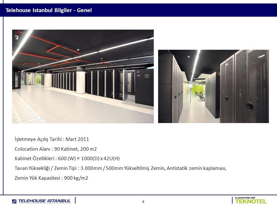 4 Telehouse Istanbul Bilgiler - Genel İşletmeye Açılış Tarihi : Mart 2011 Colocation Alanı : 90 Kabinet, 200 m2 Kabinet Özellikleri : 600 (W) × 1000(D