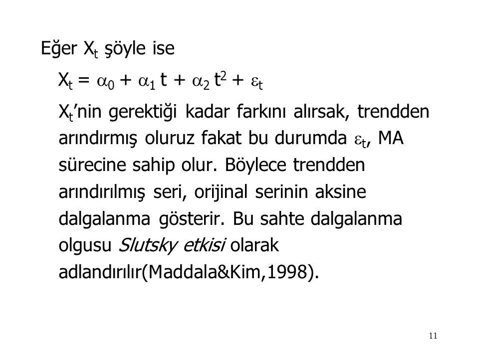 11 Eğer X t şöyle ise X t =  0 +  1 t +  2 t 2 +  t X t 'nin gerektiği kadar farkını alırsak, trendden arındırmış oluruz fakat bu durumda  t, MA