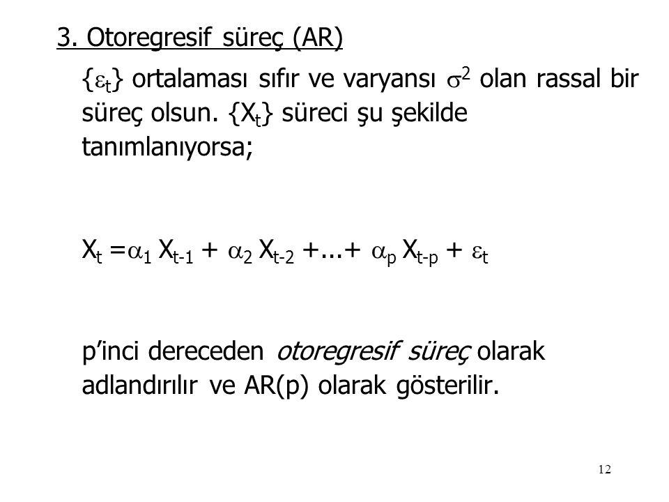 12 3. Otoregresif süreç (AR) {  t } ortalaması sıfır ve varyansı  2 olan rassal bir süreç olsun. {X t } süreci şu şekilde tanımlanıyorsa; X t =  1