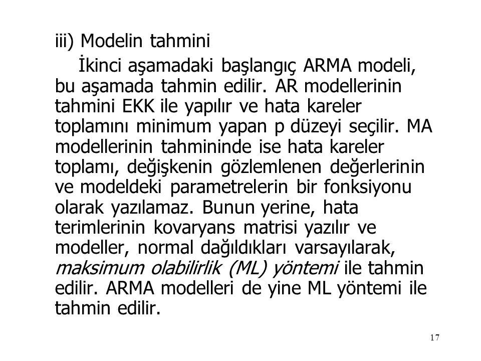 17 iii) Modelin tahmini İkinci aşamadaki başlangıç ARMA modeli, bu aşamada tahmin edilir. AR modellerinin tahmini EKK ile yapılır ve hata kareler topl
