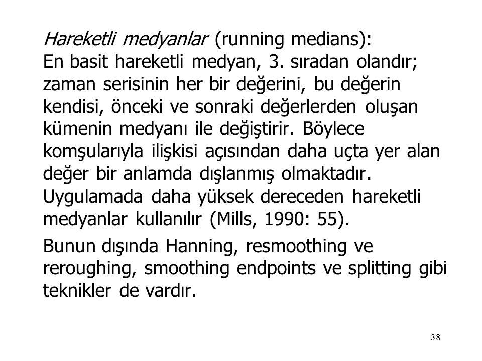 38 Hareketli medyanlar (running medians): En basit hareketli medyan, 3. sıradan olandır; zaman serisinin her bir değerini, bu değerin kendisi, önceki
