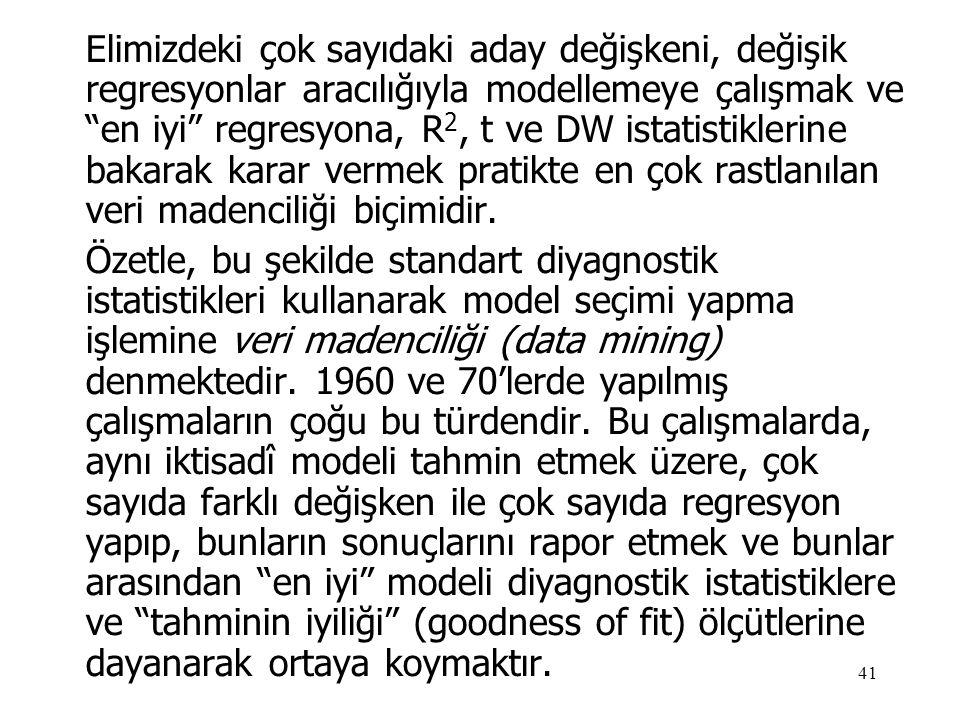 """41 Elimizdeki çok sayıdaki aday değişkeni, değişik regresyonlar aracılığıyla modellemeye çalışmak ve """"en iyi"""" regresyona, R 2, t ve DW istatistiklerin"""