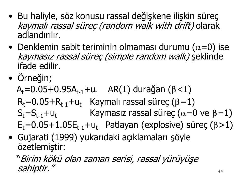 44 •Bu haliyle, söz konusu rassal değişkene ilişkin süreç kaymalı rassal süreç (random walk with drift) olarak adlandırılır. •Denklemin sabit terimini