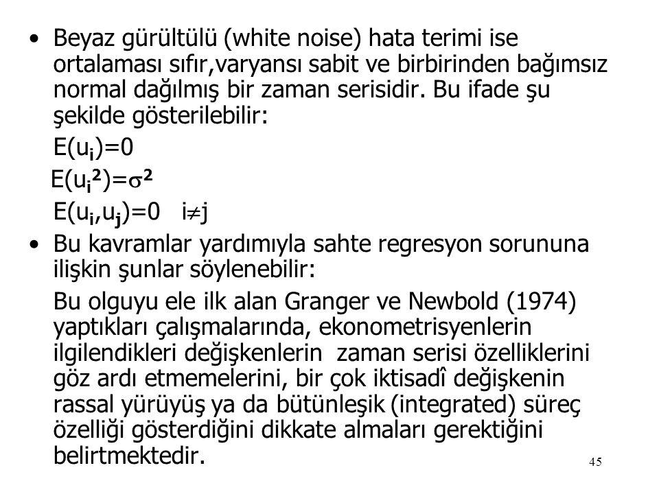 45 •Beyaz gürültülü (white noise) hata terimi ise ortalaması sıfır,varyansı sabit ve birbirinden bağımsız normal dağılmış bir zaman serisidir. Bu ifad