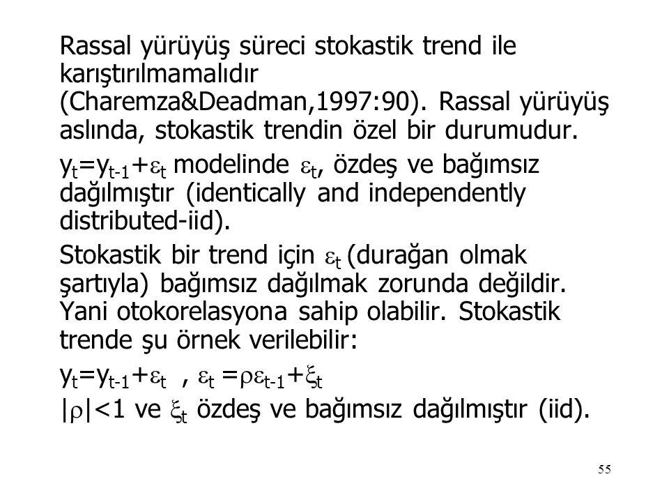 55 Rassal yürüyüş süreci stokastik trend ile karıştırılmamalıdır (Charemza&Deadman,1997:90). Rassal yürüyüş aslında, stokastik trendin özel bir durumu