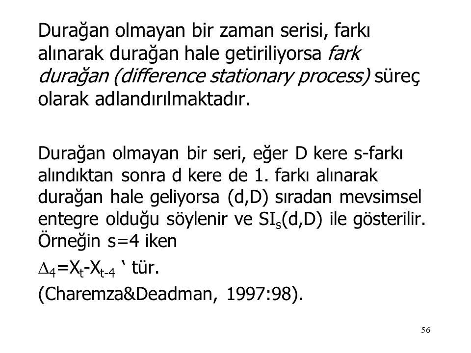 56 Durağan olmayan bir zaman serisi, farkı alınarak durağan hale getiriliyorsa fark durağan (difference stationary process) süreç olarak adlandırılmak
