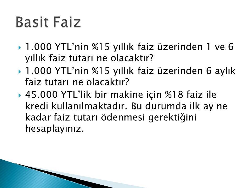  1.000 YTL'nin %15 yıllık faiz üzerinden 1 ve 6 yıllık faiz tutarı ne olacaktır.