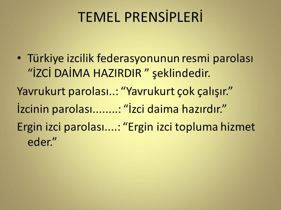 TEMEL PRENSİPLERİ • Türkiye izcilik federasyonunun resmi parolası İZCİ DAİMA HAZIRDIR şeklindedir.