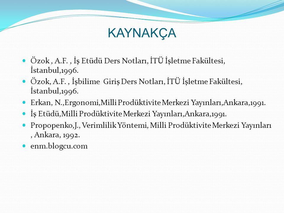 KAYNAKÇA  Özok, A.F., İş Etüdü Ders Notları, İTÜ İşletme Fakültesi, İstanbul,1996.  Özok, A.F., İşbilime Giriş Ders Notları, İTÜ İşletme Fakültesi,