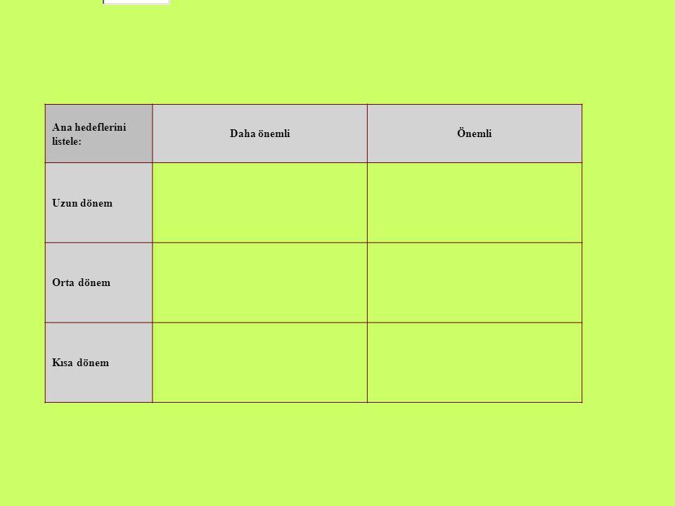 Ana hedeflerini listele: Daha önemliÖnemli Uzun dönem Orta dönem Kısa dönem