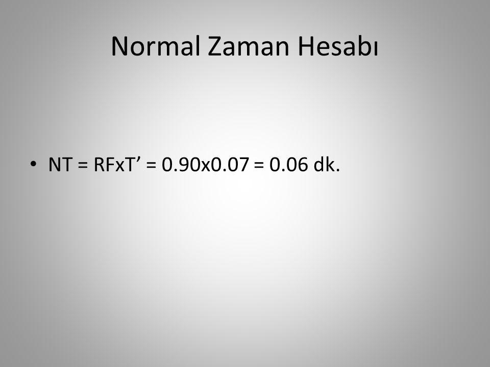 Normal Zaman Hesabı • NT = RFxT' = 0.90x0.07 = 0.06 dk.