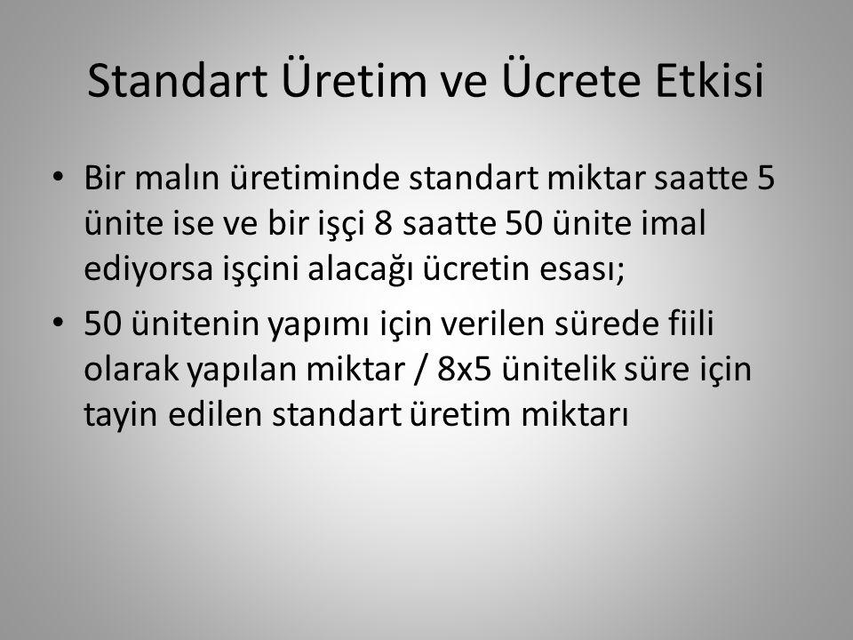 Standart Üretim ve Ücrete Etkisi • Bir malın üretiminde standart miktar saatte 5 ünite ise ve bir işçi 8 saatte 50 ünite imal ediyorsa işçini alacağı