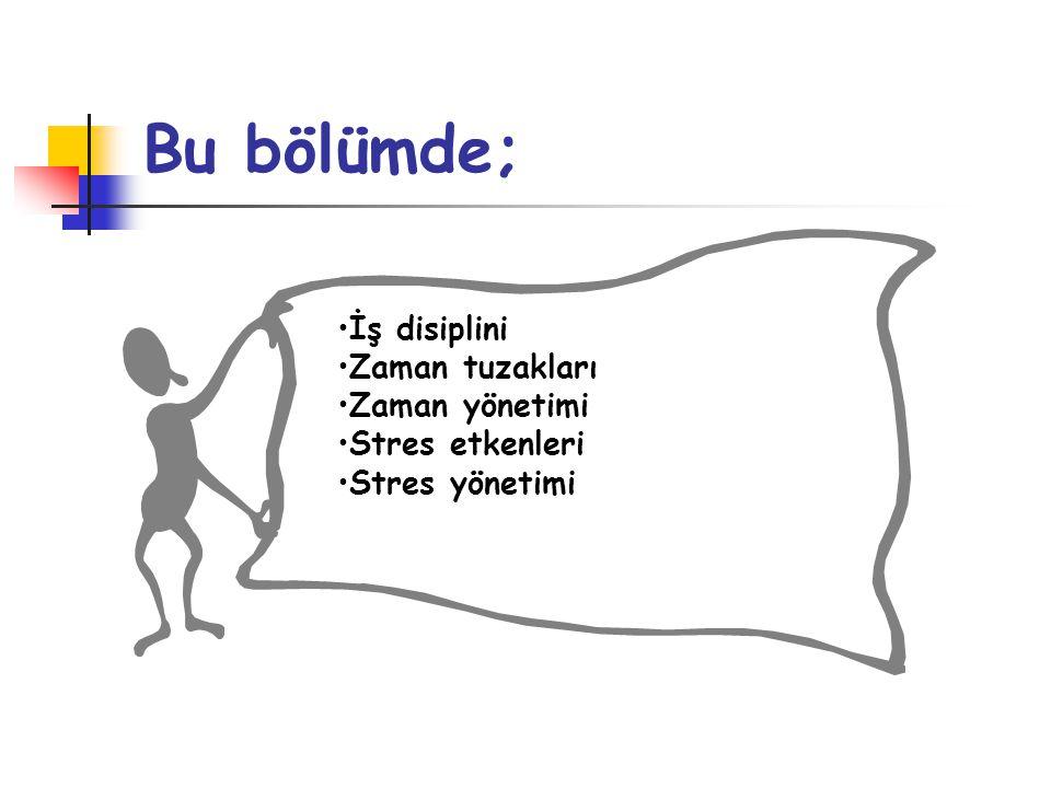•İş disiplini •Zaman tuzakları •Zaman yönetimi •Stres etkenleri •Stres yönetimi Bu bölümde;